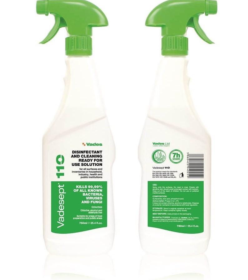 VADESEPT dezinfekcijska tekočina za delovne površine 750ml