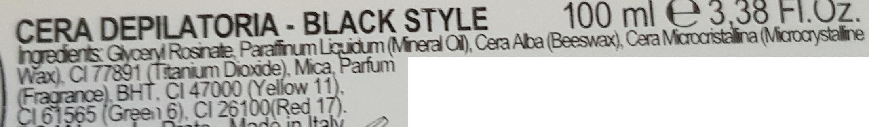 cera depilatoria black style INCI