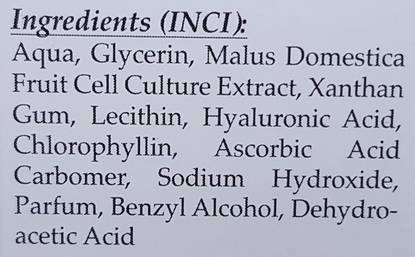 mesovital youth active serum 30ml INCI