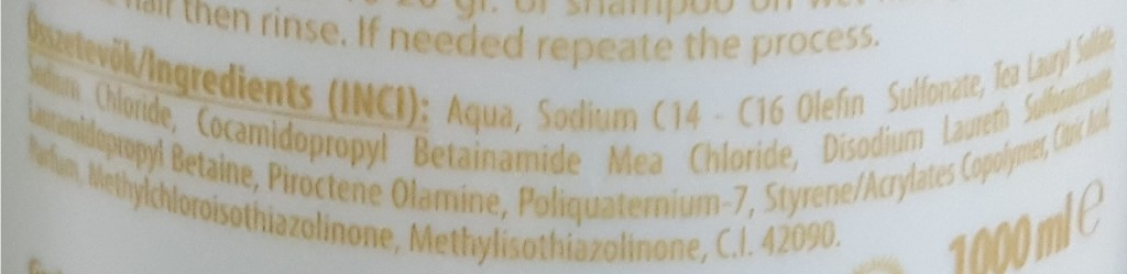 shampoo anti-dandruff INCI