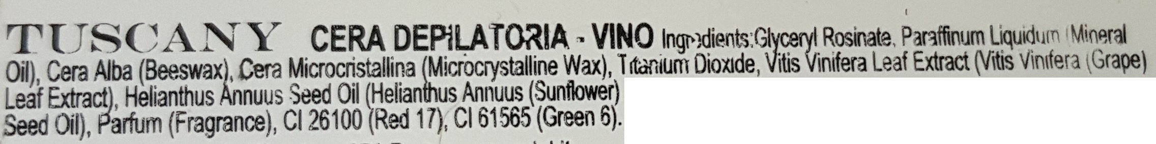 tuscany cera depilatoria INCI vino