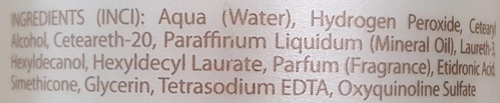 Oxidant milk INCI